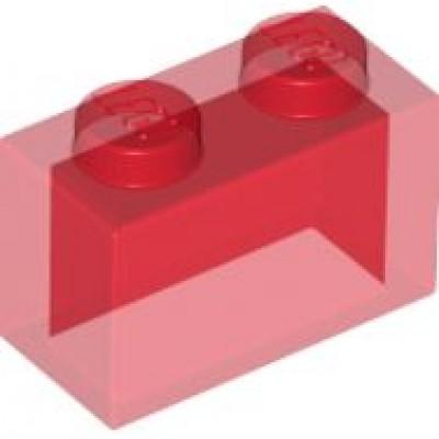 LEGO 1 x 2 Brick Transparent Red
