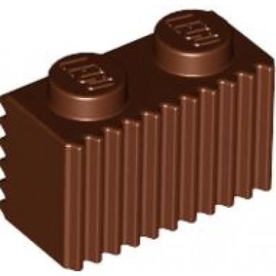 LEGO 1 x 2 Brick with Grille (Reddish Brown)