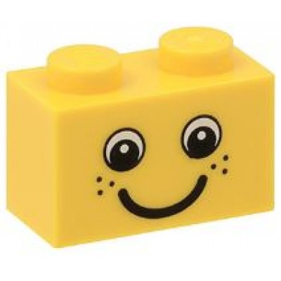 LEGO 1 x 2 Brick Yellow with Eyes and Freckles