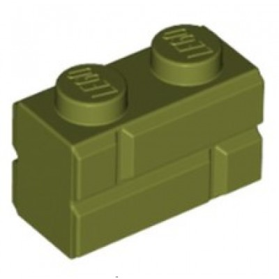 LEGO 1 x 2 Brick Masonry Profile Olive Green