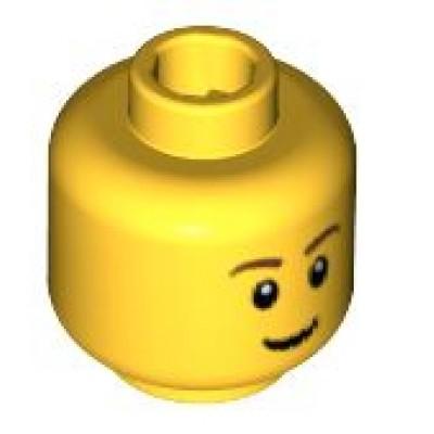 LEGO Minifigure Head - Thin Grin, Brown Eyebrows