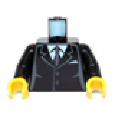 LEGO Minifigure Torso - Black Suit, Grey sides and tie