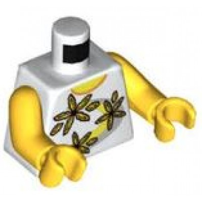 LEGO Minifigure Torso - Shirt 3 Flowers over Yellow and Silver Stripe Pattern