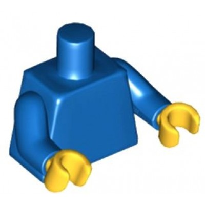LEGO Minifigure Torso - Plain / Blue Arms / Yellow Hands