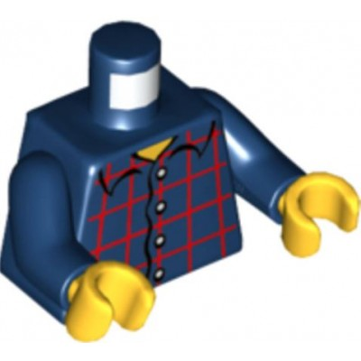 LEGO Minifigure Torso - Dark Blue Plaid Button Shirt