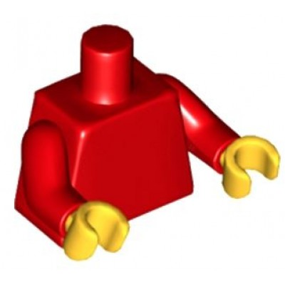 LEGO Minifigure Torso - Plain / Red Arms / Yellow Hands