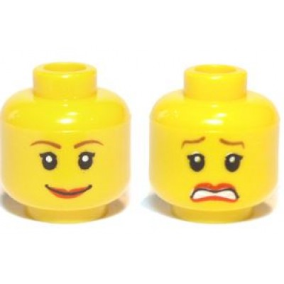 LEGO Minifigure Head - Dual Sided Female Brown Eyebrows Scared / Smile Pattern