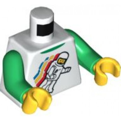 LEGO Minifigure Torso - Classic Space Floating Pattern, White, Green Arms, Yellow Hands