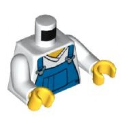 LEGO Minifigure Torso - V-Neck Shirt with Blue Overalls