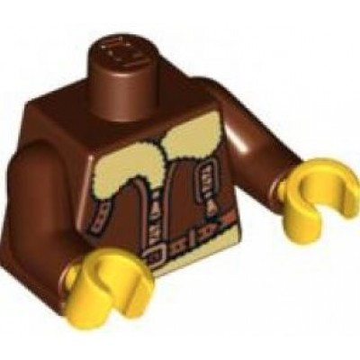 LEGO Minifigure Torso - Bomber Jacket with Light Yellow Collar Pattern / Reddish Brown Arms / Yellow Hands