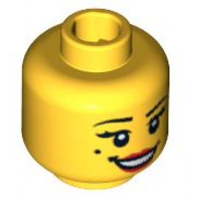 LEGO Minifigure Head - Female with Open Smile Red Lips and Beauty Mark Pattern