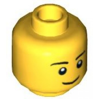 LEGO Minifigure Head - Thin Grin, Black Eyebrows