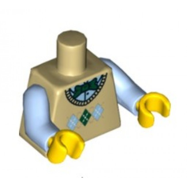 Lego New Minifigure Torso Argyle Sweater Vest with Green Bow Tie Pattern  Piece