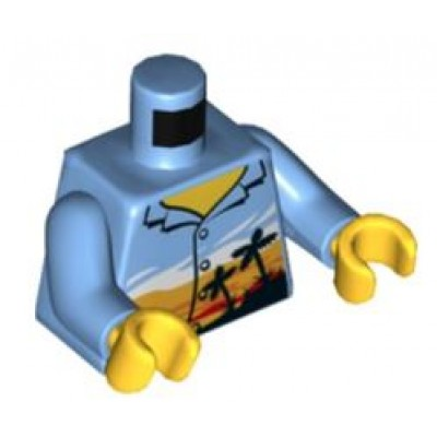 LEGO Minifigure Torso - Shirt with Bright Light Orange Sunset and Black Palm Trees Pattern