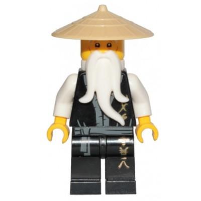 LEGO Minfigure Sensei Wu, Black Robe, Gold Ninjago Logogram 'MASTER' - Legacy