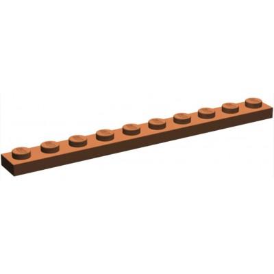 LEGO 1 x 10 Plate Reddish Brown