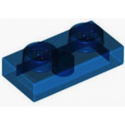 LEGO 1 x 2 Plate Transparent Dark Blue