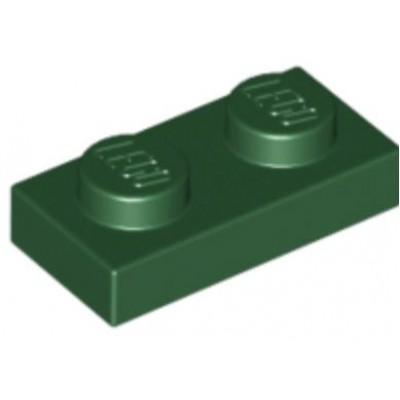 LEGO 1 x 2 Plate Dark Green