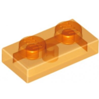 LEGO 1 x 2 Plate Transparent Orange