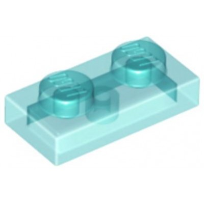 LEGO 1 x 2 Plate Transparent Light Blue