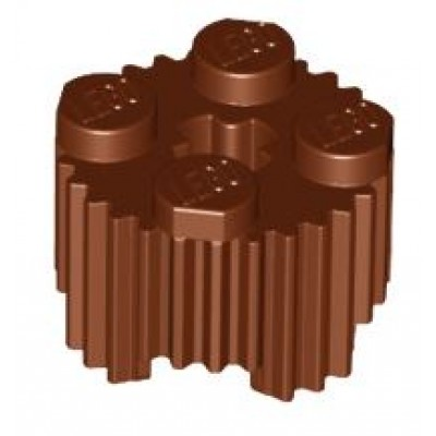LEGO Brick Round 2 x 2 Reddish Brown grooved